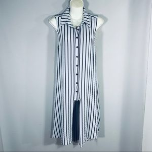 Striped Midi length Sleeveless Shirt